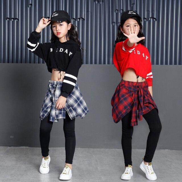 子供のスポーツスーツ綿の服韓国のファッションヒップホップストリート十代の少女パーカートレーナー + チェック柄スカートパンツ