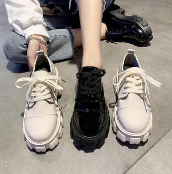 Женские лакированные туфли на платформе, повседневные лоферы на плоской подошве со шнуровкой, женские оксфорды на плоской подошве, кожаные ...