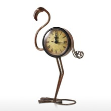 Tooarts Flamingo Wrought Iron Clock Retro Desks Clock decoration Handmade Vintage Metal Home Decor Figurine Mute Table Clock