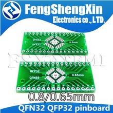 10 pces qfn32 qfp32 conversor dip adaptador pcb 0.8/0.65mm passo placa de transferência universal