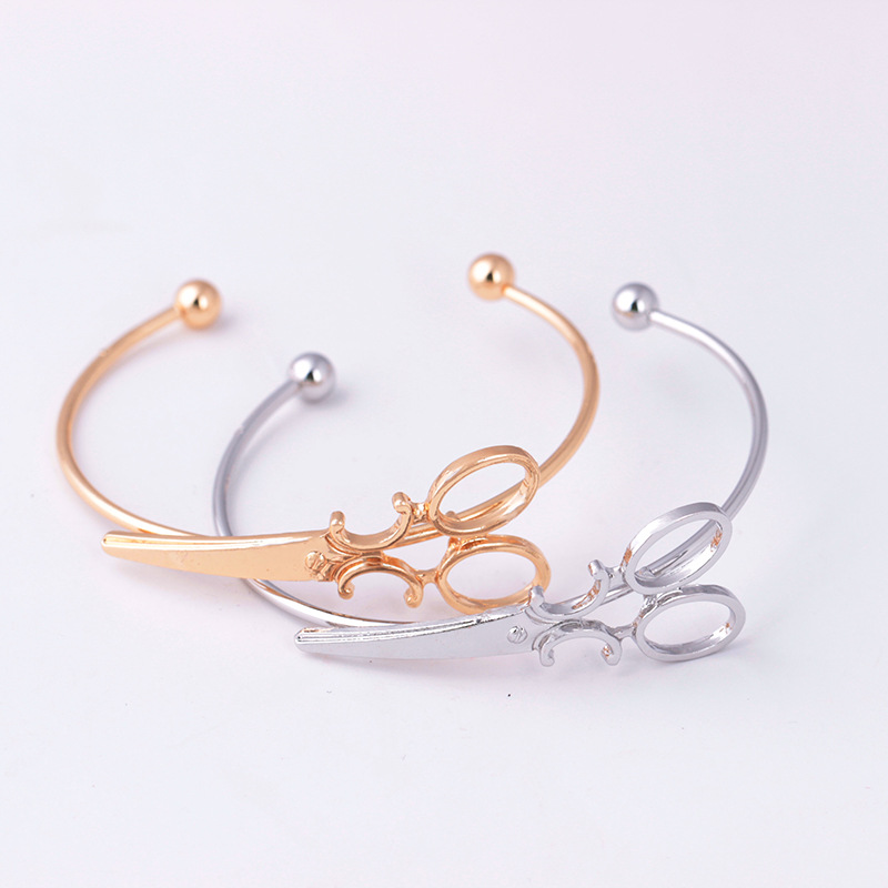 Personalized Scissors Shape Design Simple Open Adjustable Bracelet Creative Charm Bracelet Bangle Women Statement Jewelry Gift