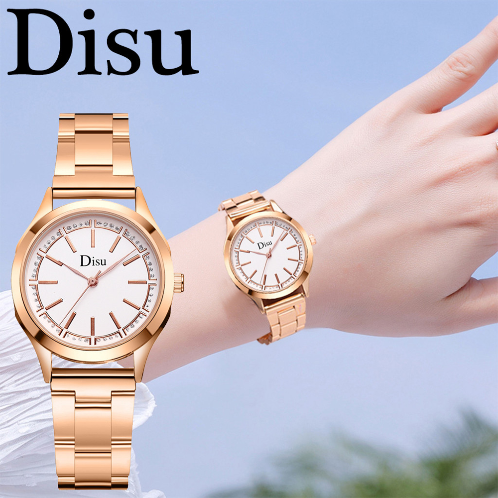DISU ゴールド腕時計女性腕時計女性のクリエイティブ鋼の女性のブレスレットは、女性の時計精密スケールアナログ腕時計 A5