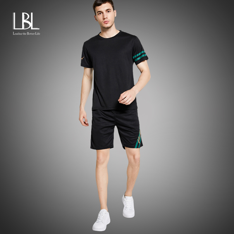Casual Men's Streetwear Sets 2pcs TShirts+Shorts Men Summer Brand Two Piece Tracksuit Fashion Tshirts Gyms Workout Fitness Sets
