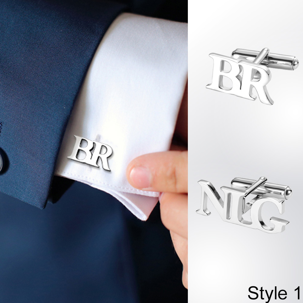 Personalized Letter Name Cufflinks Mens Jewelry Gifts Customize Names Cuff links Buttons Initials Letters Wedding Cufflink Groom(China)