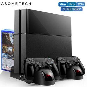 Image 1 - Stanowisko chłodzące dla PS4/PS4 Slim/PS4 PRO z 12 sztuk miejsce do przechowywania gier podwójny kontroler ładująca stacja dokująca dla Sony Playstation 4 Pro
