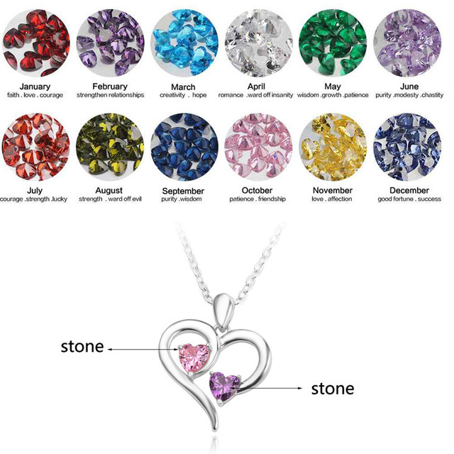 Natural Rhinestone Fashion Jewelry 12 Months Birth Stone Crystal Pendant Necklace