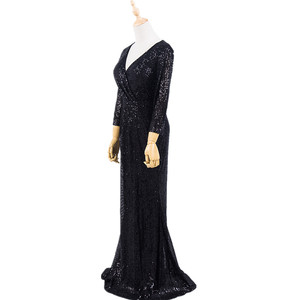 Image 4 - Plus Size Evening Host Long Dresses V Neck Zipper Simple Party Gown Soiree Sexy   Formal Dress MS 0079