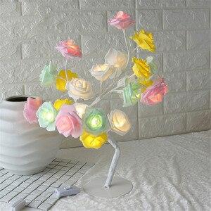 Image 4 - ตารางโคมไฟ 24LED Rose ดอกไม้จำลอง Tree Night Light ของขวัญเด็กบ้านห้องนอนข้างเตียงงานแต่งงานตกแต่งคริสต์มาส