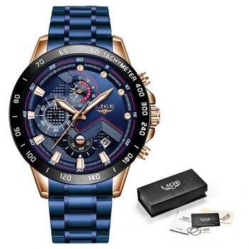 Relogio Masculino LIGE Hot Fashion Mens Watches Top Brand Luxury Wrist Watch Quartz Clock Blue Watch Men Waterproof Chronograph 10