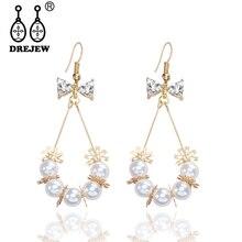 DREJEW Butterfly Flower Pearl Rhinestone Statement Earrings 2019 Summer 925 Alloy Drop for Women Wedding Jewelry HE634