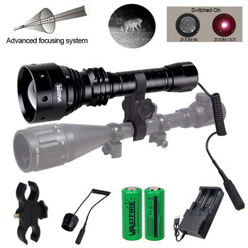 T67 IR night vision Flashlight 10W 850nm LED Zoomable Luz infrared radiation tactical Flashlight hunting torch 18650 tactical hunting torch ir night vision adjustable zoomable gun infrared illuminator flashlight black 850nm 18650 battery include