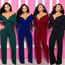 Deep V Neck Womens Jumpsuits Solid Color Long Sleeve Sexy Ladies Fashion Colorful Apparel