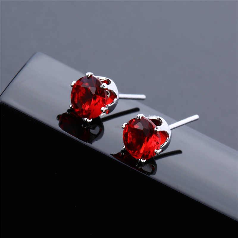 Couleur argent 6mm CZ pierre couronne boucles d'oreilles pour les femmes AAA autriche Zircon 9 couleurs Stud boucle d'oreille livraison directe de mode bijoux de mariage