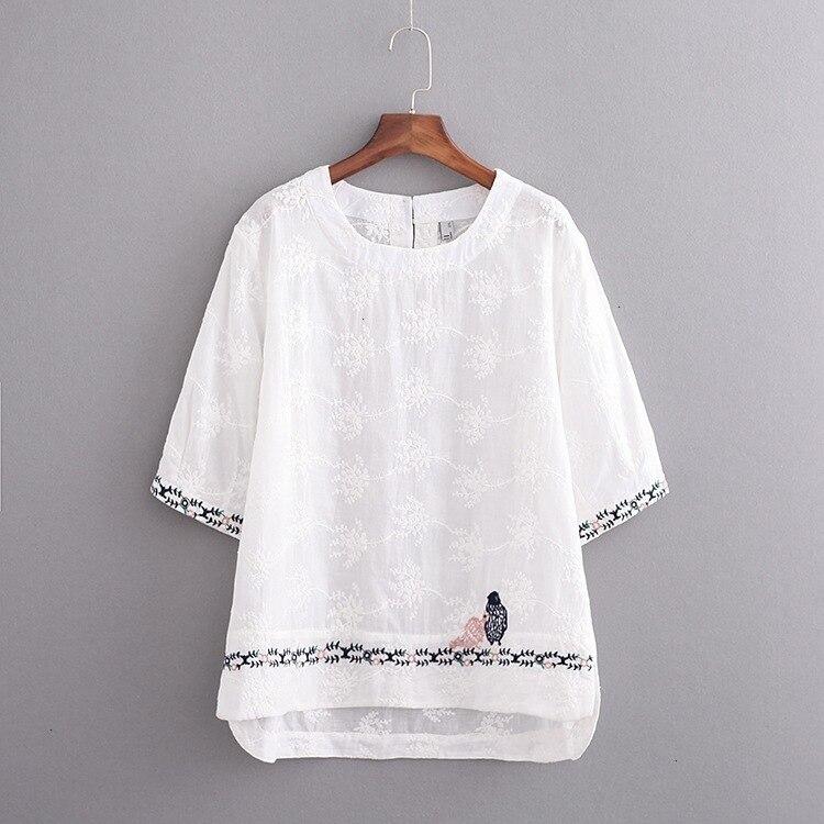 Grande taille coton lin femmes t-shirt 2019 demi manches femmes dessus de chemise t-shirt été thé chemise femme