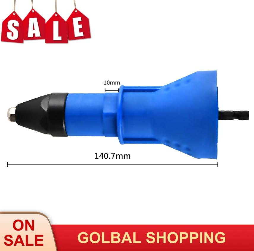 Electric Nail Gun Cordless Riveting Drill Adaptor Rivet Nut Tool Insert Nut Tool Riveting Drill Adapter  Blue Rivet Nut Tool
