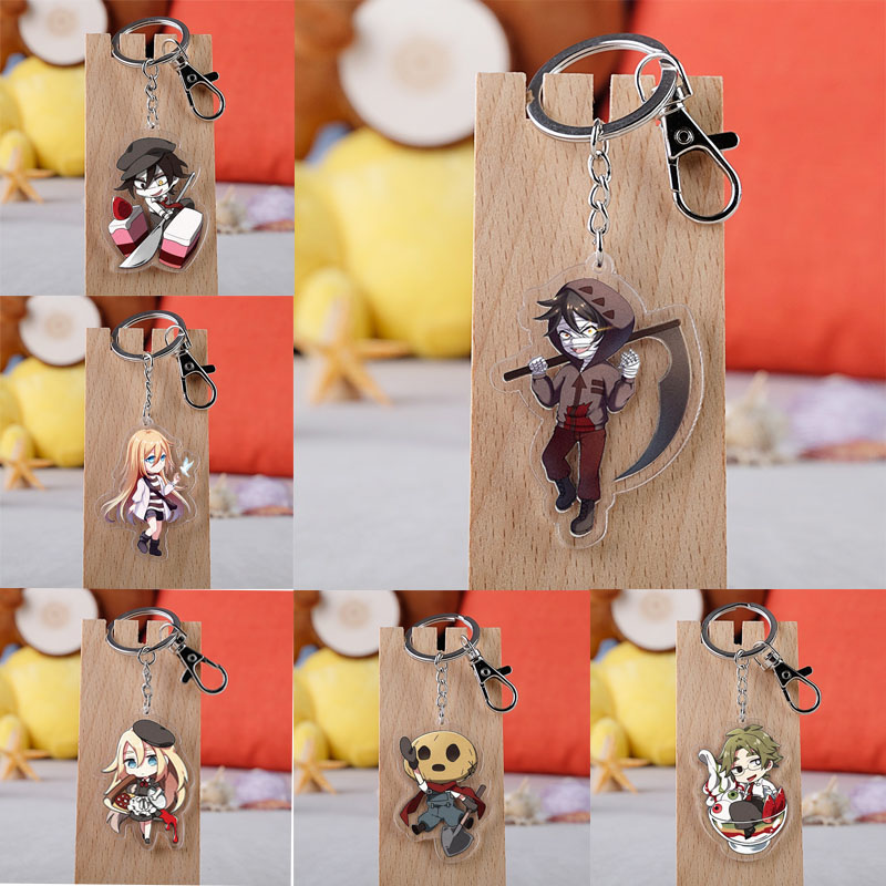 Anime Angels Of Death Keychain Cartoon Figure Satsuriku No Tenshi Foster Isaac Rachel Acrylic Pendants Key Ring
