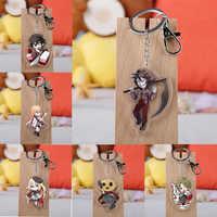 Anime Angels of Death Keychain Cartoon Figure Satsuriku No Tenshi Foster Isaac Rachel Acrylic Pendants Key Ring