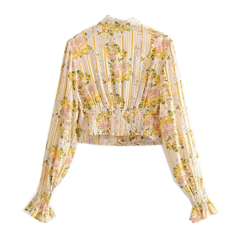 Image 4 - Bohemian Lace Spliced Striped Floral Shirt Yellow Sexy Women Elastic Waist Long Skirt Long Sleeve Blouse Holiday 2 Pieces SetWomens Sets   -