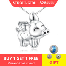 Strollgirl Unique Charms gorgeous Pig flying Pendant Necklace New Arrival 925 Sterling Silver jewelry Animal for Women Girl gift(China)