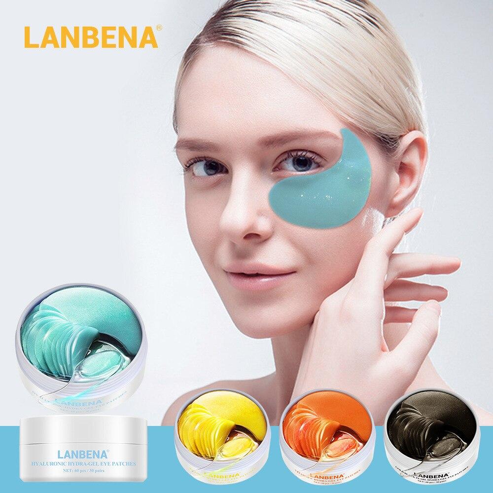 LANBENA 60pcs Eye Mask Collagen Skin Care Hyaluronic Acid Moisturizing Anti Aging Remove Dark Circles Bag Hydrogel Eye Patchs