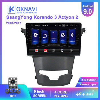 OKNAVI For Ssangyong Korando 3 Actyon 2 2013 2014 2015 2016 2017 Android 9.0 Car Multimedia GPS Navigation Radio 4G WIFI Player image
