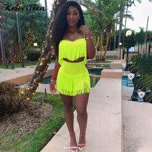 Kricesseen Neon Green Fringed Crop Top And High Waist Skirt