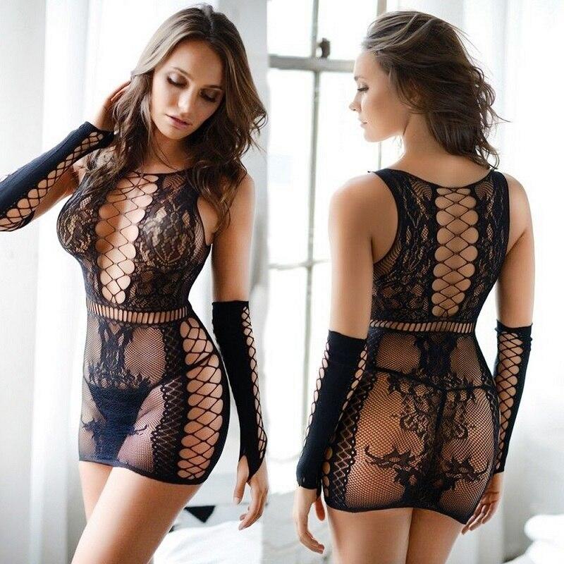 Women Sexy Erotic Costumes Lingerie Black Fishnet Mesh  Bodystockings Nightdress Nightwear Crotch Dress Body Stocking Intimates