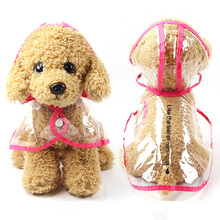 Small And Medium Dog Hooded Raincoat Transparent Waterproof PVC Jacket For Pet Dogs Puppy Raincoat  6 Colors