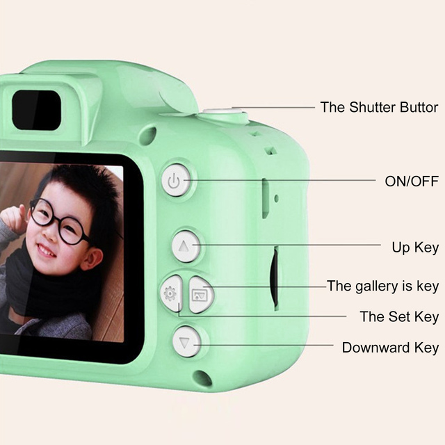 Kids Mini Camera Toy Cute Camcorder Rechargeable Digital Camera with 2 Inch Display Screen Children Educational Toy Outdoor Play 4