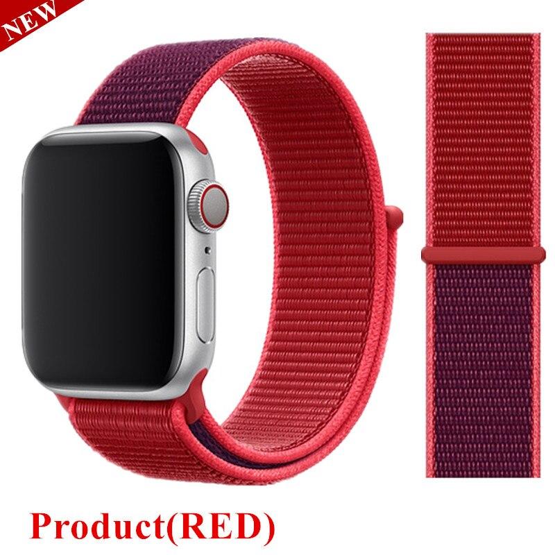 Спортивная петля ремешок apple watch band 42 мм 38 мм apple watch 4 3 band iwatch band 44 мм 40 мм correa pulseira 42 44 нейлоновый ремешок для часов - Цвет ремешка: Product Red