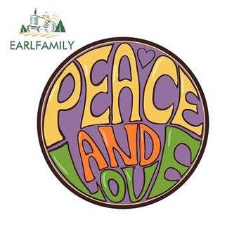 Pegatinas de logotipo del coche de EARLFAMILY de 13cm x 12,9 cm para el amor de la paz, protector solar de vinilo para motocicleta, parachoques JDM, troncos y camiones, gráficos