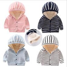 2019 jesień zima dla dzieci odzież wierzchnia dla niemowląt dla niemowląt chłopcy dziewczęta ciepła kurtka maluch paski płaszcz z kapturem dla dzieci dla dzieci gruby sweter tanie tanio Kids Tales Na co dzień COTTON Pasuje prawda na wymiar weź swój normalny rozmiar Heavyweight Pełna Kurtki płaszcze