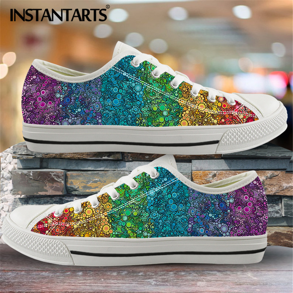 INSTANTARTS Classic Low Top Canvas Shoes Vulcanized Sneakers Colorful Rainbow Print Pride Ladies Flats Shoes Women Zapatillas 10