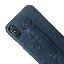 Genuine Leather Hand Strap Holder Case For iPhone X XS Max 10 Cell Phone Luxury Ostrich Thin Slim Hard Cover Solque