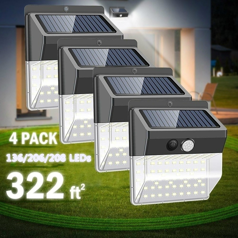 208LED Solar Lights Outdoor Super Bright Motion Sensor Light With 270 Wide Angle Wall Solar Light Security Lighting With 3 Modes