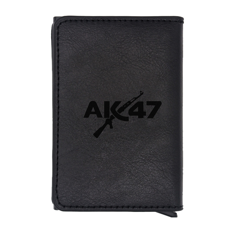 Classic Fashion Black Gun AK 47 rfid card wallet Vintage Men Women Leather money clips card purse cash holder image