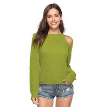 Sexy Cold Sleeve Knitted Sweaters Women O-Neck Solid Autumn Winter Clothes Casual Korean Style Pullover Ladies Jumper Pull Femme