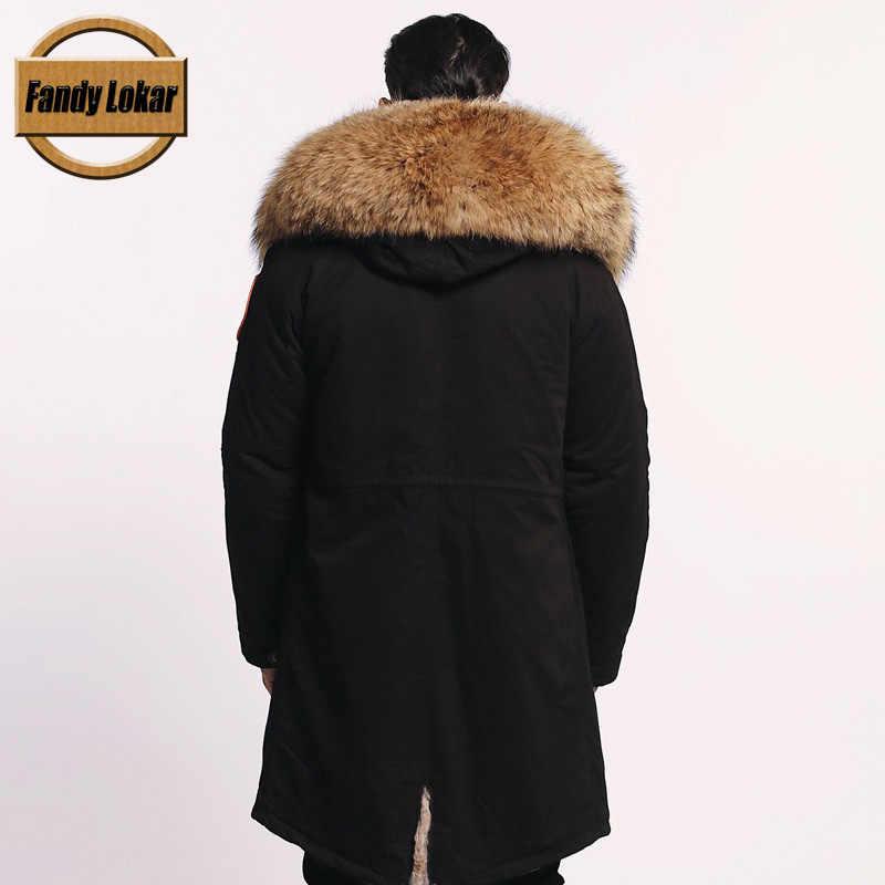 Fandy Lokar אמיתי פרווה Parka גברים חורף מעיל אמיתי דביבון פרווה סלעית מעיל טבע ארנב פרווה רירית מעילי גבר אמיתי פרווה מעיל