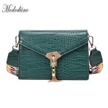 Mododiino Crocodile Pattern Women Bag Over Shoulder Tassel Messenger Crossbody Bags Colorful Strap DNV1220
