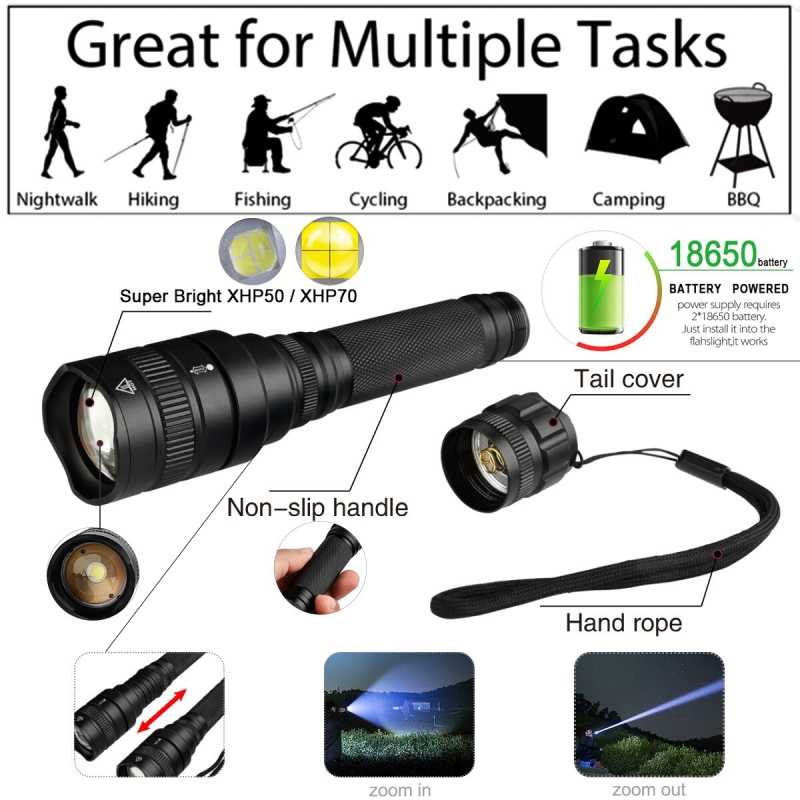cheapest XHP70 2 1515 The most powerful led flashlight  xhp50 XHP70 30w 18650 3200lm zoomable Lantern torch