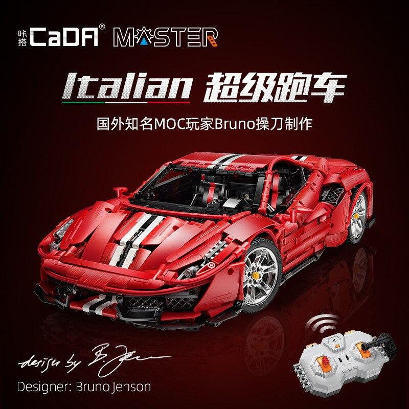 Stokta CaDA RC yüksek teknoloji MOC C61042 3187 adet İtalyan süper yarış araba modeli yapı taşları tuğla oyuncaklar çocuklar için noel hediyesi