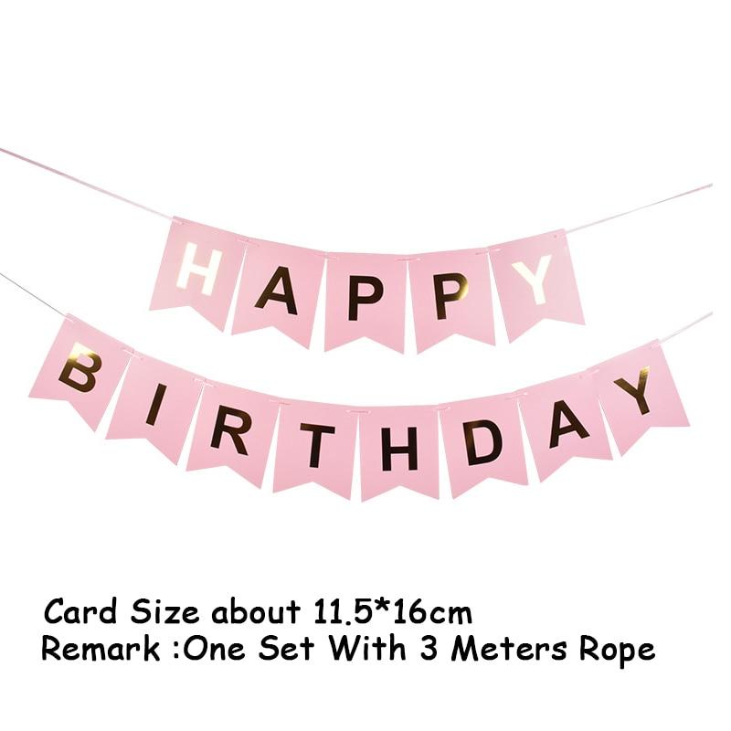 Купить с кэшбэком Pink Gold Foil Happy Birthday Banners Card Disposable Home Decoration party decorations birthday party supplies kids