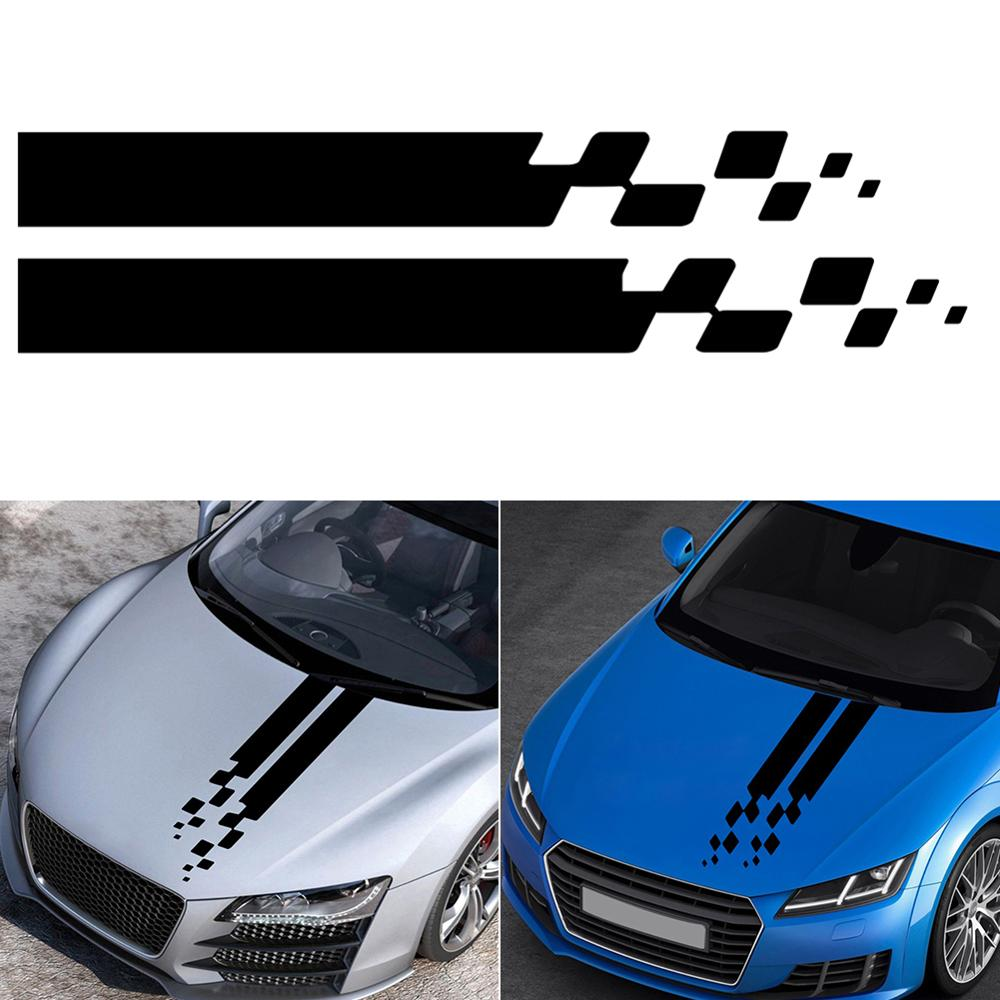 Universal Vinyl Decals 2Pcs Auto <font><b>Car</b></font> Hood <font><b>Stripes</b></font> Sticker For <font><b>BMW</b></font> Ford Toyota Renault Peugeot Mercedes Honda DIY Bonnet Decor image