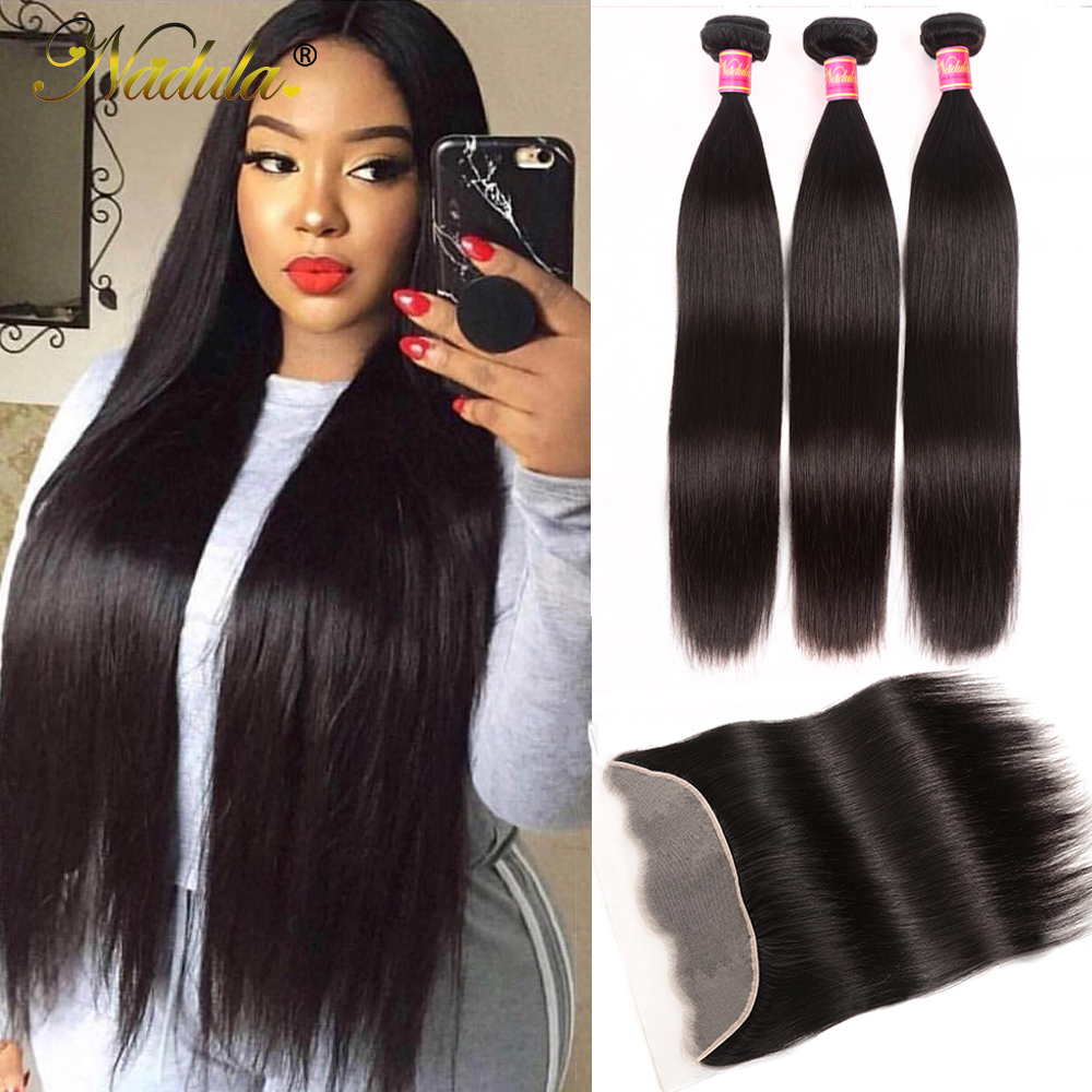 NADULA HAIR 13*4 Transparent Lace Frontal /Medium Brown Straight Hair Bundles With Frontal Brazilian Hair 3 Bundles With Closure
