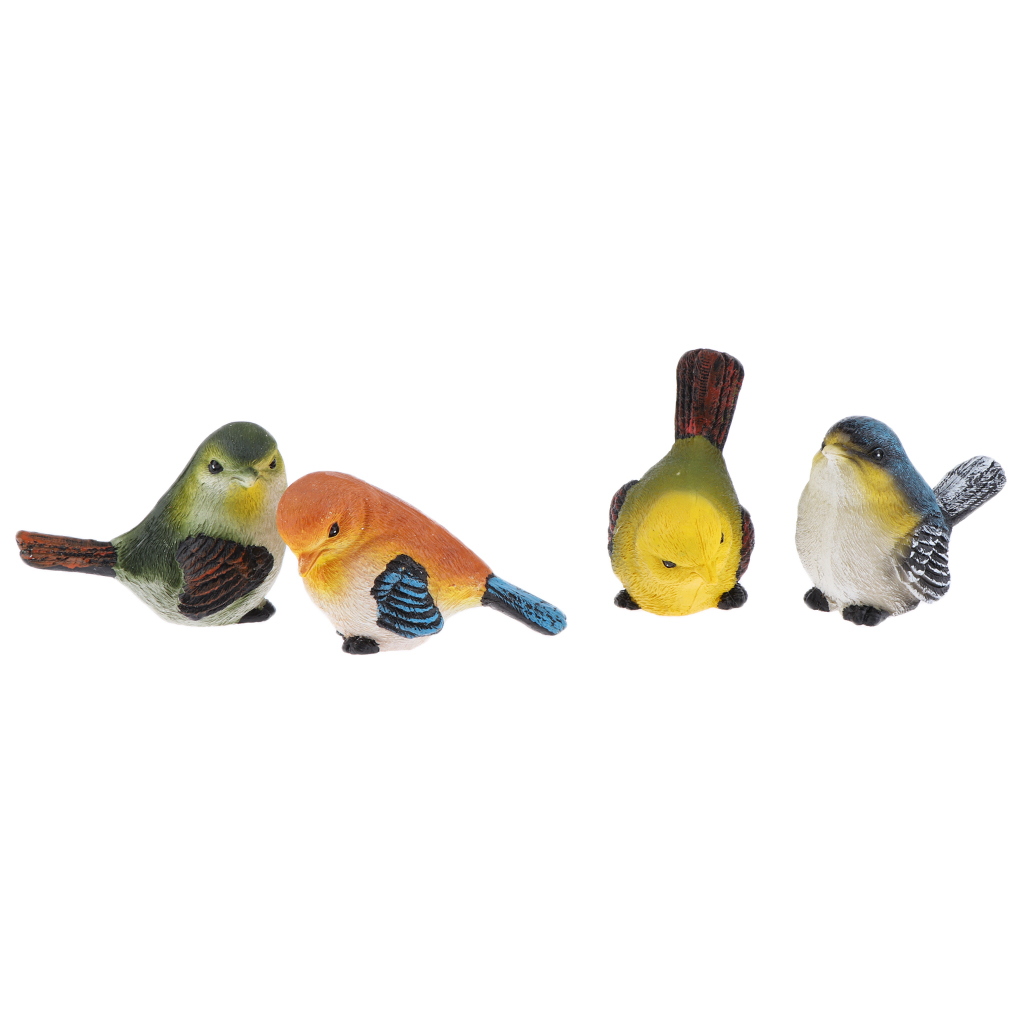 4 Pcs Birds Figure Resin Crafts Pigeon Statues and Figurines - Indoor Outdoor Home Garden Decor