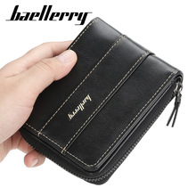 Baellerry Leather Vintage Men Wallets Short Coin Pocket Zipper Small Wallet Men Purse Card Holder Male Clutch Money Bag 2019
