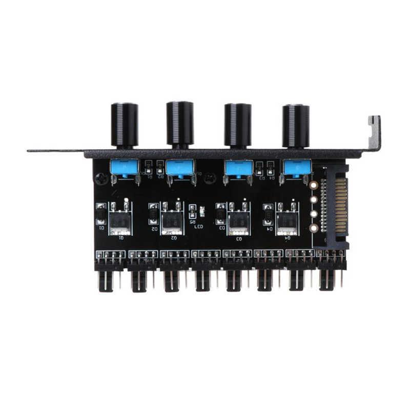 컴퓨터 PC 6 채널 8 웨이 4 핀 PWM 3 핀 팬 속도 컨트롤러 PCI 커버, CPU 케이스 팬 라디에이터 용 12V 온도 제어