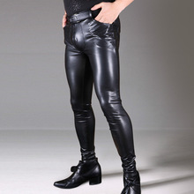 Black Faux Leather Pants Men New Stretch Skinny Pencil PU Leather Pants Sexy Leggings Gay Club Wear