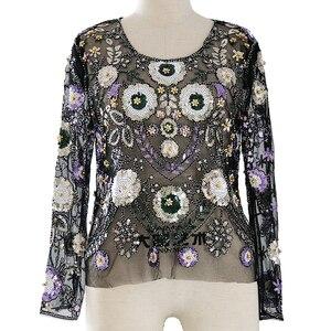 Женские Модные топы, сексуальные вечерние Блузы с бисером и блестками, Европейский подиумный стиль, блестящие рубашки с длинными рукавами, ...