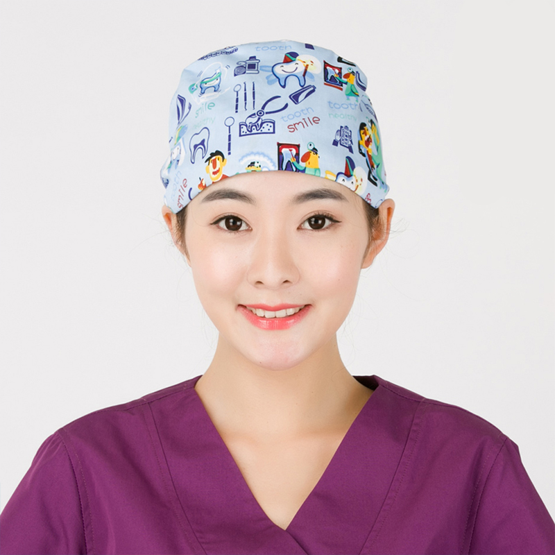 New Medical Surgical Cap Dentists Medical Scrub Cap For Women And Men Surgical Hats Cotton Soft Sweat Band Dentistry Tooth Fairy